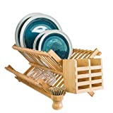 Wooden Dish Drying Rack – Bamboo Collapsible Dish Rack – Includes Utensil Caddy, Wooden Handle Scouring Bristle Brush, Carry Pouch – Space Saving Modern Design – Eco-Friendly Materials