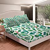 Feelyou Parrots Bedding Set Tropical Palm Leaves Bed Sheets for Kids Boys Girls Jungle Animals Branches Bed Sheet Set Nature Fitted Sheet Bedroom Collection 3Pcs Queen Size