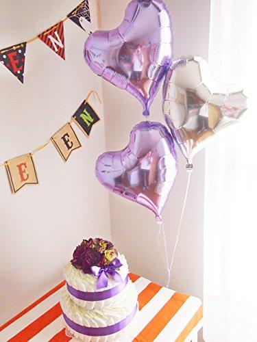 出産祝い おむつケーキ ベビーギフト 贈り物 赤ちゃん お祝い バルーン付き ハロウィン 2ステップおむつケーキ バイオレット with ハートバルーン(おむつサイズ:パンパースMサイズ(6~11kg))