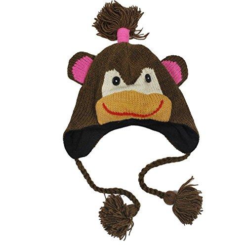 Adult Size Womens Woolen Winter Animal monkey Hat-Brown-one size
