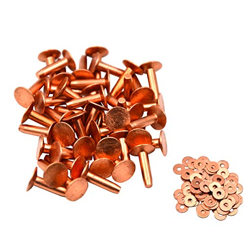 Okones Pack of 40,1/2''Cap×5/32''Shaft×4/5''Tall,Solid Copper Rivets and Burrs Studs Spike for Leather Craft Belt Wallet (1/2''Cap×5/32''Shaft×4/5''Tall, red Copper)