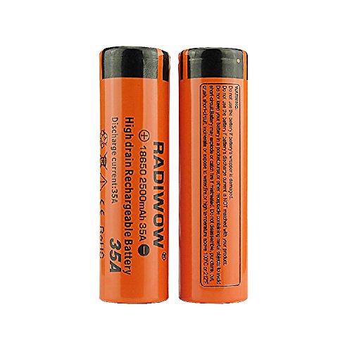 RADIWOW 2500mAh 3,7V-Batterie Lithium-Ionen wiederaufladbare Hochleistungsbatterien Orange(2500mah-2pc)