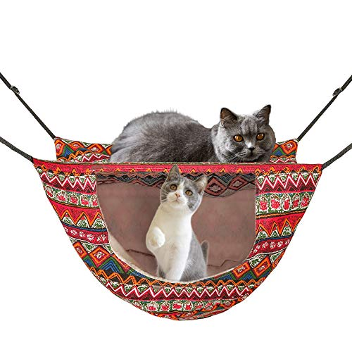 ONENIN Cat Cage Hammock,Hanging Soft Pet Bed for Kitten Ferret Puppy Rabbit or Small Pet,Double Layer Hanging Bed for Pets,2 Level Indoor Bag for Spring/Summer/Winter (Ethnic Style)