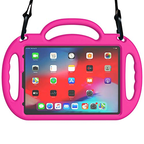 MENZO New iPad Pro 11 2020 Kids Case, iPad Pro 11 inch case, Light Weight Shockproof Shoulder Strap Handle Stand Case for iPad Pro 11 inch 2020 2nd Gen/2018 (1st Generation), Rose