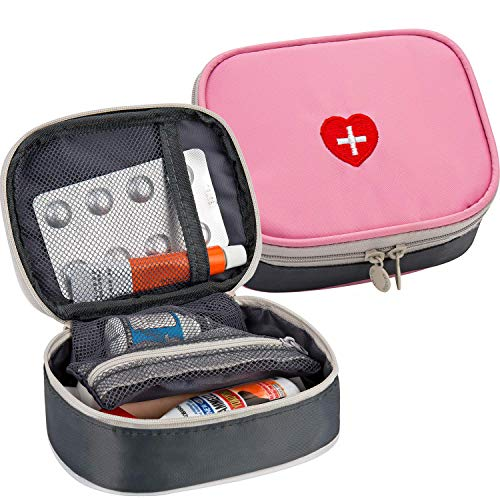 2pcs Portable Mini First Aid Kit, Multifunction Travel Medicine Storage Bag Emergency Kit for...