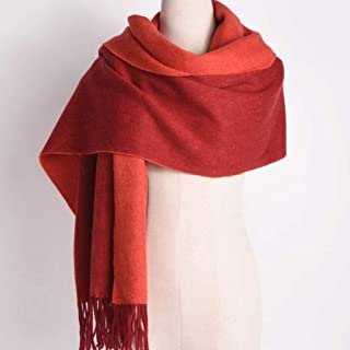 JERPOZ Scarf Pure Wool Scarf Ladies Thick Double Sided Shawl Autumn and Winter Dual-use Long Warm (Color : E)