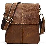 BAIGIO Men Vintage Messenger Bag Nubuck Genuine Leather Cross-body Satchel Small Casual Shoulder...
