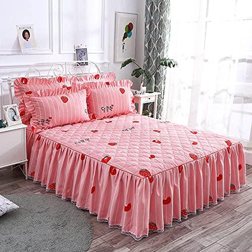 CYYyang Protector de colchón, algodón, poliéster, Falda de Cama Individual de Sarga gruesa-18_180 * 220cm