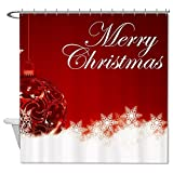 rioengnakg Schimmelresistent Stoff Ornament Merry Christmas rot Polyester Duschvorhang wasserdicht, Polyester, #1, 72