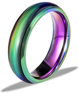 Ello Elli 6MM Comfort Fit Stainless-Steel Color Changing Mood Ring Silver/Black/Gold/Rose Gold/Rainbow Tone