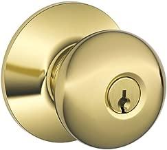 Schlage F51A PLY 605 Plymouth Knob Keyed Entry Lock, Bright Brass