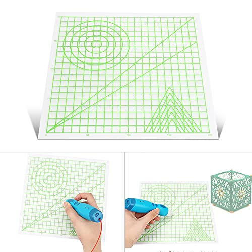 Fesjoy Tapete con Plantilla básica, Pluma de impresión 3D Estera Tablero de Dibujo con Plantilla de Formas básicas de Arte en Forma de Herramientas de Pluma 3D Accesorios de Pluma Regalo para niños