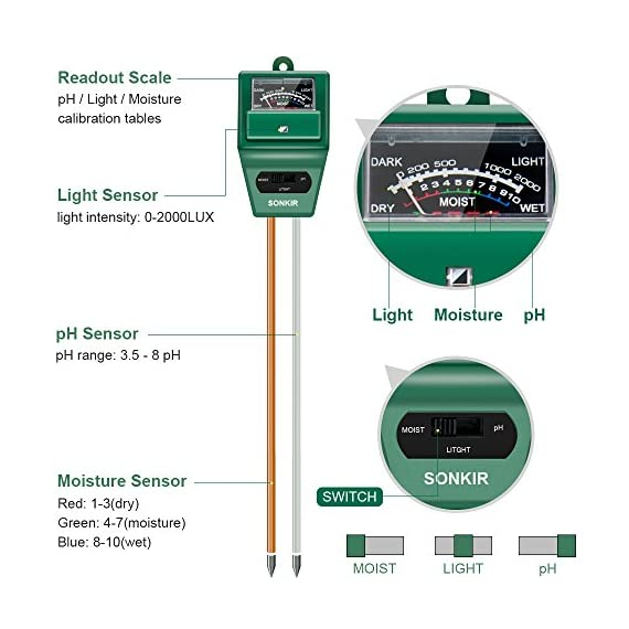 Sonkir Soil pH Meter, MS02 3-in-1 Soil Moisture/Light/pH Tester Gardening Tool Kits for Plant Care, Great for Garden… 5 Kindly NOTE: This soil tester can not be applied to test pH value of any other liquid. If the soil is too dry the indicator will not move, and water it before testing. 3-IN-1 FUNCTION: Test soil moisture, pH value and sunlight level of plant with our soil meter, helps you specialize in grasping when you need to water your plant. ACCURATE & RELIABLE: Double-needle Detection Technology strongly enhances the speed and accuracy of detecting and analyzing soil moisture and pH acidity.