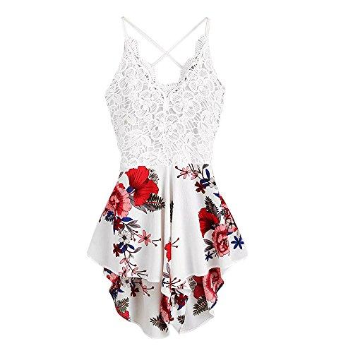 JERFER Combinaison Femme Short d'été en Dentelle avec Crochet et nœud Papillon à l'arrière Combi-Pantalon Jumpsuit Rompers