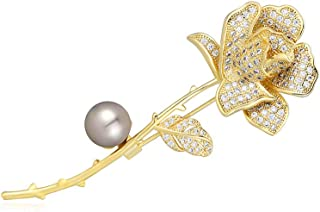 M&D Jewelry Gold Rose Flower Brooch Pin for Women Girl Birthday Gifts Paved Cubic Zirconia Pearl