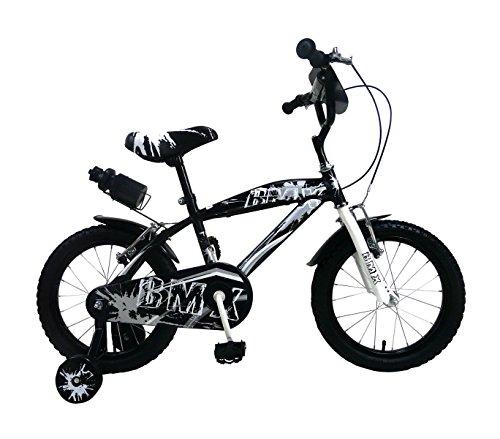 Mediawave Store Bicicletta BMX Baby Taglia 16 Bici per Bambini 510194 età 4-7 Anni (Nero)