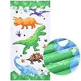 Serviette de Plage Dinosaure - 76 × 152cm Microfibre Serviettes de Bain Enfants légère Absorption Serviettes de Randonnée Natation Piscine Plage Camping Voyage Draps de Bain Serviettes de Toilette