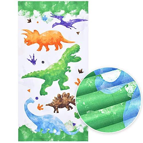 Toalla de Playa de Dinosaurio - 76 x 152cm Microfibra Toallas de Baño Infantiles Niños Toallas de Acampada Piscina Natación Playa Camping Absorbente Viaje Toallas de Mano Ducha Toallas de Mano