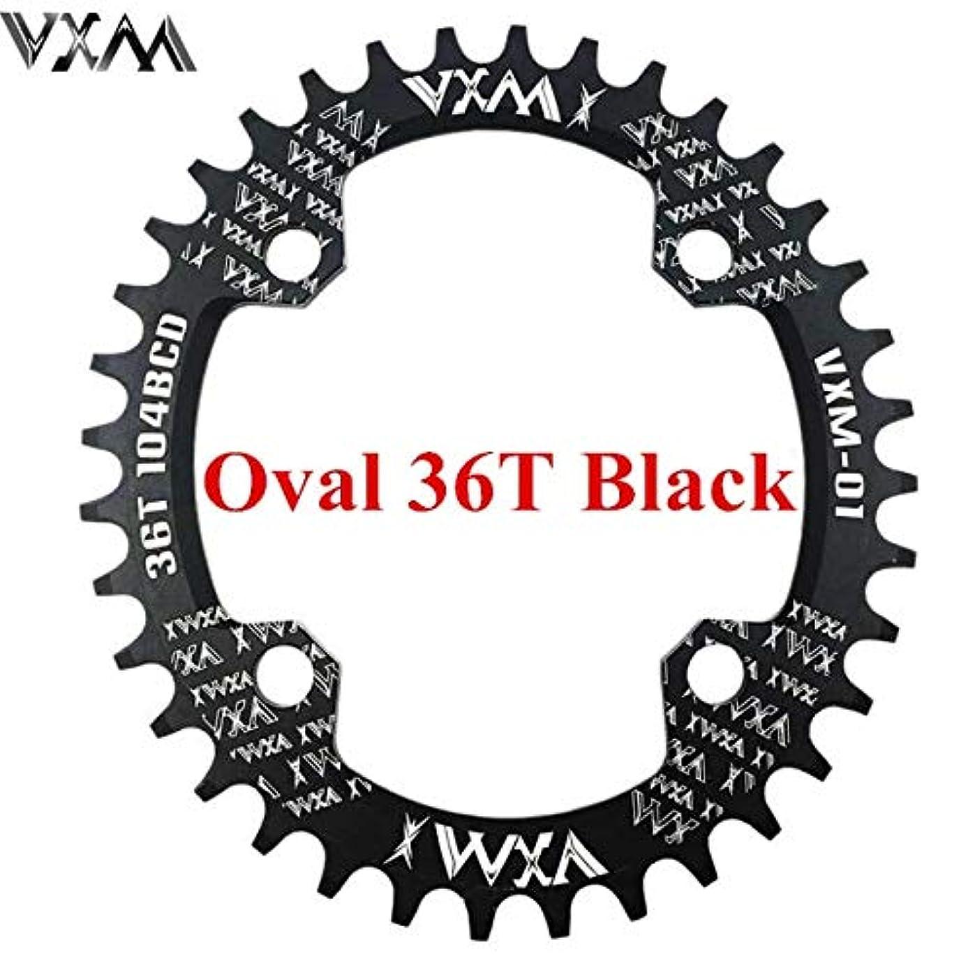 承知しました陪審十分にPropenary - 自転車104BCDクランクオーバルラウンド30T 32T 34T 36T 38T 40T 42T 44T 46T 48T 50T 52TチェーンホイールXT狭い広い自転車チェーンリング[オーバル36Tブラック]