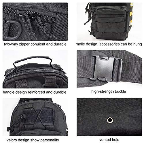 Shuweiuk Tactical Sling-Rucksack Militär Schulter Kasten EDC-Tasche für Outdoor-Sport Camp Wandern, schwarz - 4