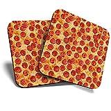 Gran posavasos (juego de 2) cuadrado/brillante calidad posavasos/mantel de protección para cualquier tipo de mesa – Pepperoni Pizza Teenage Boys #3874