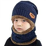heekpek Niños Sombrero Caliente de Punto y Bufanda Tubular con Forro de Lana, para Niños y Niñas Conjunto de Bufanda Gorro Niños Kids (Azul Marino)