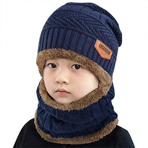heekpek Niños Sombrero Caliente de Punto y Bufanda tubular con Forro de Lana, para Niños y Niñas Conjunto de Bufanda Gorro Niños Kids
