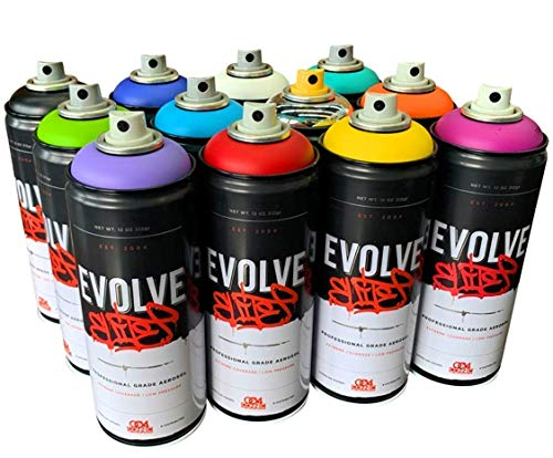 Evolve Elite 12 Pack, MTN, Montana, Belton & Molotow & Ironlak Spray Paint