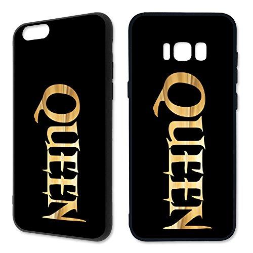 Cover King & Queen Gold – Apple silicone per San Valentino, matrimonio, amore, modello di telefono cellulare Apple iPhone 6/6S, design 5, in silicone nero