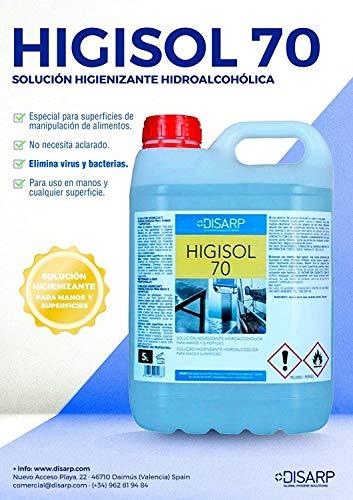 GEL-SOLUCION HIGIENIZANTE HIDROALCOHOLICO ANTIBACTERIAS DE SECADO INSTANTANEO ANTIBACTERIAS HIGISOL 70 Envase 5l (1)