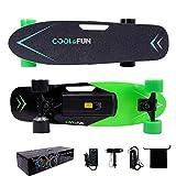 Cool & Fun Skateboard Eléctrico de 4 Ruedas Monopatín con Control Remoto (Verde)