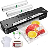 JOMST Vacuum Sealer Machine, Automatic Food Saver Vacuum Sealer for Kitchen Food Sealer Automatic Vacuum Sealing System with 2 Rolls Vacuum Bags, 10 Pairs of Disposable Gloves, One Date Sticker, Dry & Moist Food Modes, Lower Noise, Lossless Sealing