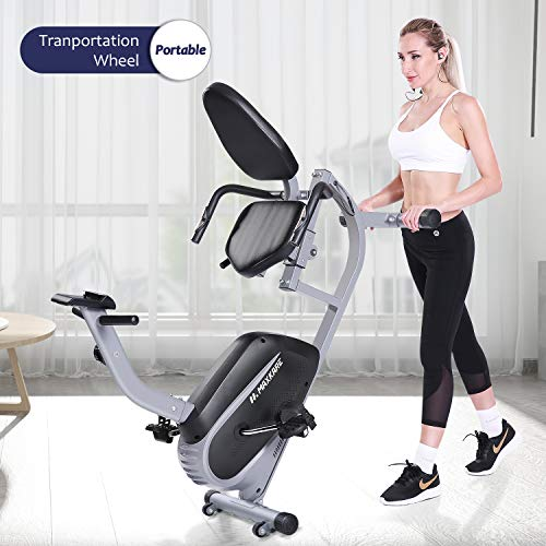 MaxKare Recumbent Exercise Bike Indoor Cycling Stationary Bike with Adjustable Seat and Resistance, Pulse Monitor/Phone Holder (Seat Height Adjustment by Lever)