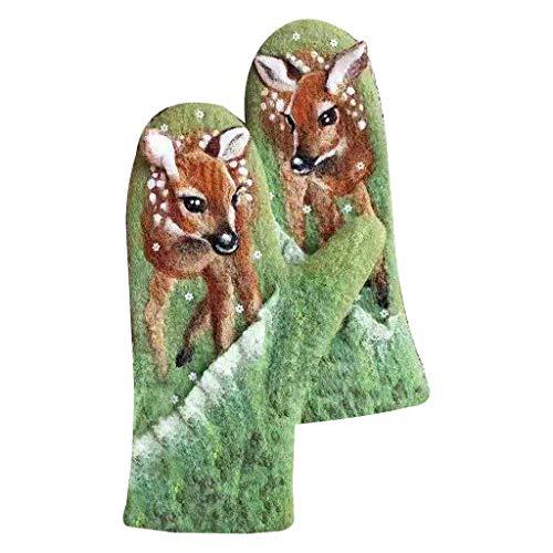 Guantes de cachemira sintética para mujer, con estampado de animales, colores 3D, cálidos, guantes de invierno para pantalla de invierno para mantener el calor para mujeres y hombres