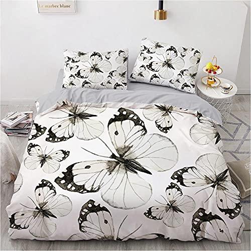 OTNYHBJ Funda de edredón Fundas de Almohada Mariposa Animal Blanco Negro 140x200 cm Juego de Cama Ropa de Cama Juego de edredón Cubierta 2 Fundas de Almohada