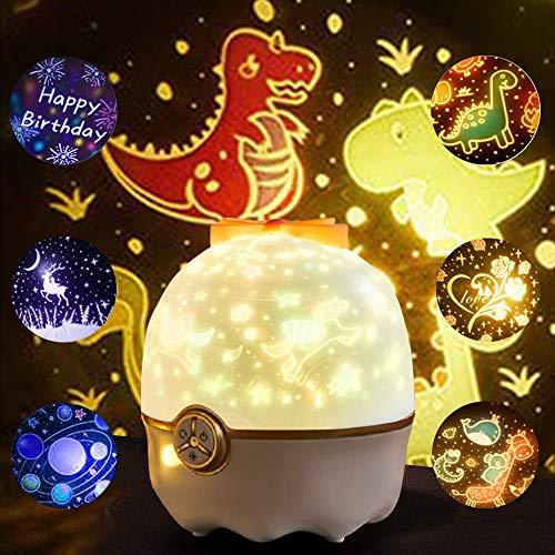 SANBLOGAN Nachtlicht Projektor Kinder, LED Projektor Sternenhimmel Lampe Sternenlicht mit 7 Projektionsfilmen 360 ° Drehbar Galaxy Projektor für Geburtstage Party Geschenke für Kinder Mädchen