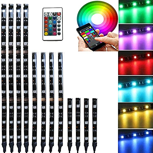 NBWDY 12pc Blue-Tooth RGB LED Car Motorcycle Glow Lights Flexible Neon Strip Waterproof Kit,IP 68 Waterproof with Bluetooth IR Wireless Remote Control for Motorcycle Scootor Golf Cart ATV UTV SUV Car