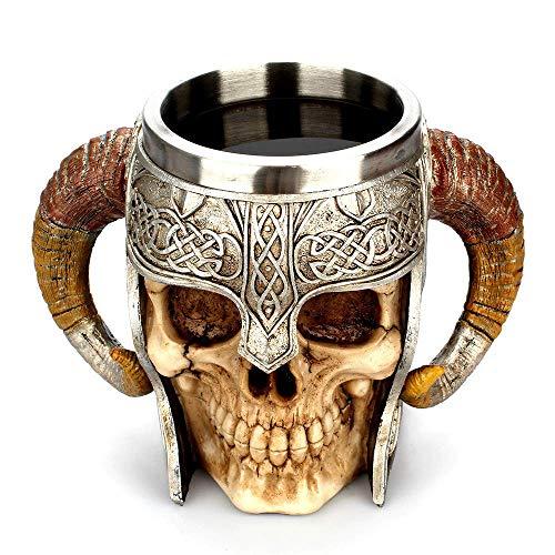 Taza de cerveza de calavera con doble asa de acero inoxidable, jarra de la taza del cráneo del guerrero vikingo, taza...