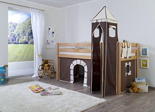 Dreams4Home Kinderbett Hochbett Spielbett Bett 'Burg' 90 x 200 cm Buche massiv natur lackiert opt mit Tunnel Turm Vorhang Tasche, Ausführung:Bett inkl. Set (Vorhang. Turm und Tasche)