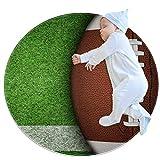 Lurnies Herbe de rugby Design moderne tapis rond en coton pour enfants tapis de jeu au sol décoration de chambre d'enfants 80cm