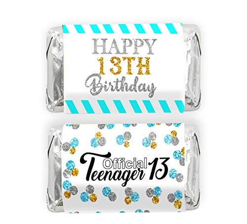 Happy 13th Birthday Mini Candy Bar Wrapper Stickers - 13 Official Teenager Birthday Party Small Favors - 45 Stickers