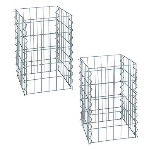 ESTEXO Gabionen-Säulen im 2er Set, 4-Eck 30x30 cm, 50 cm Höhe, inklusive Spiralen