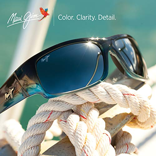 Maui Jim World Cup Wrap Sunglasses, Marlin/Neutral Grey Polarized, Large