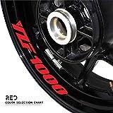 Zhangenlian- Neumáticos de Competición Pegatina Reflectante Cinturón de Bicicletas decoración de la Etiqueta a Prueba de Agua Fresca del Logotipo for Yamaha YZF1000 (Color : Red)