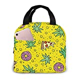 Yuanmeiju I Love Munchies Pattern Stylish Lunch Bag for Women and Teen Girls Cute Insulated Lunch Box for Work School Travel