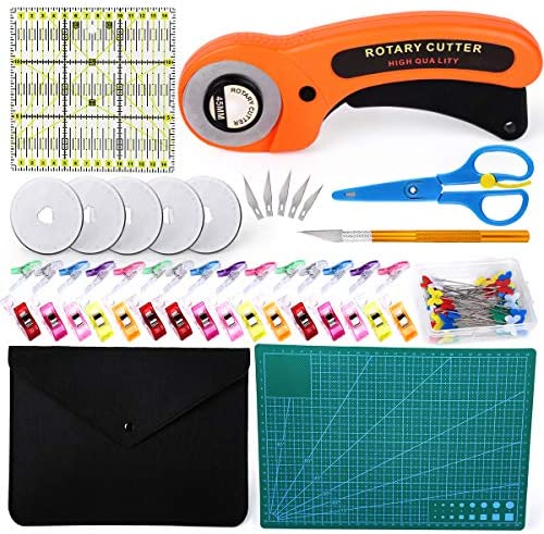 96 PCS Rotary Cutter Kit 45mm Rotary Cutter Tool Kit with 5 Extra Blades Cutting Mat Patchwork product image
