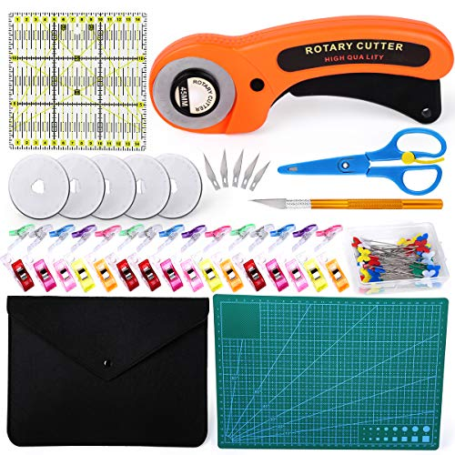 96 PCS Rotary Cutter Kit, 45mm Rotary Cutter Tool Kit with 5 Extra Blades, Cutting Mat, Patchwork Ruler, Carving Knife, Storage Bag, Sewing Clips, Full Tools for Sewing and Quilting
