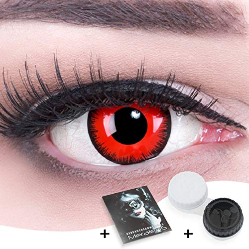 Farbige rote schwarze Red Lunatic Crazy Fun red Motivlinsen. Kontaktlinsen crazy cosplay contact lenses 1 Paar. Perfekt zu Fasching, Karneval und Halloween. Mit gratis Linsenbehälter