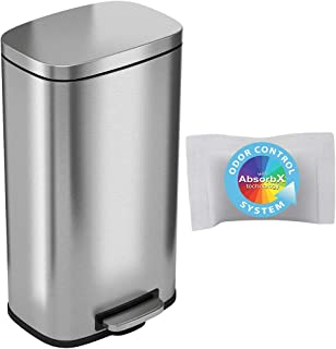iTouchless SoftStep 8 Gallon Step Trash Can with Odor Control System and Removable Inner Bucket, Stainless Steel 30 Liter ...