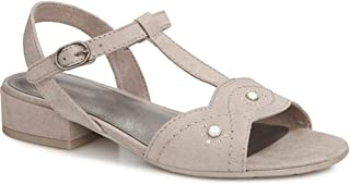 Pavers Womens Touch Fasten T-Bar Sandals Faux Buckle Detail Summer Shoes